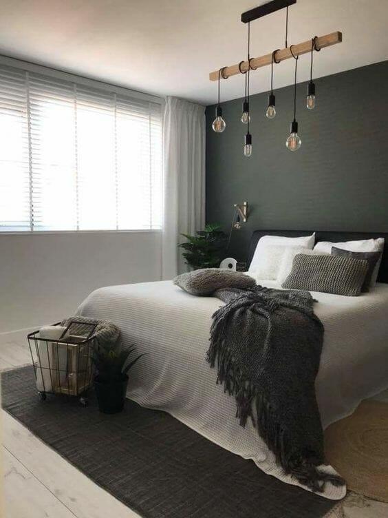 ciekawe oświetlenie to sypialni w kolorze zieleni