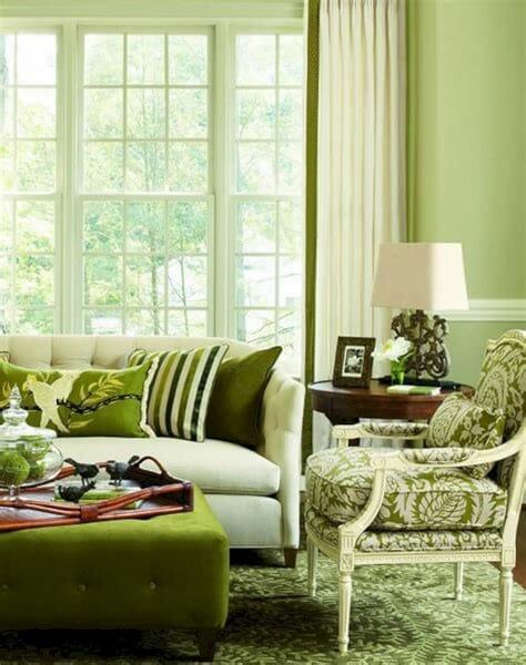 zielony Salon w stylu prowansalskim