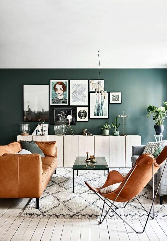 mały salon aranżacje zielone
