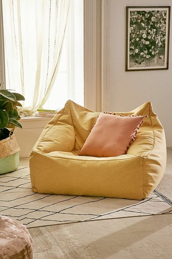 żółta worek pufy xxl