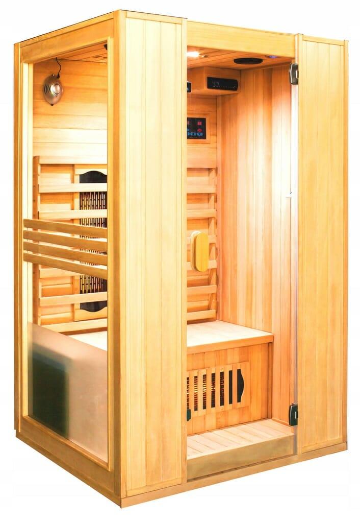 sauna infrared drewniana do domu 2-osobowa tania