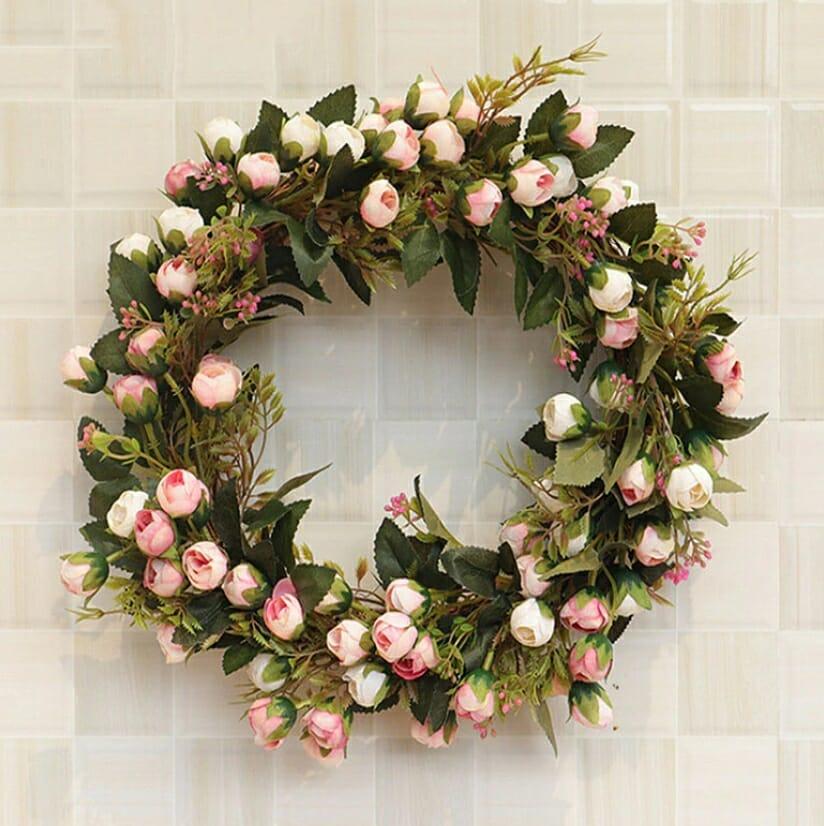 wianek z kwiatów ozdoba wielkanocna