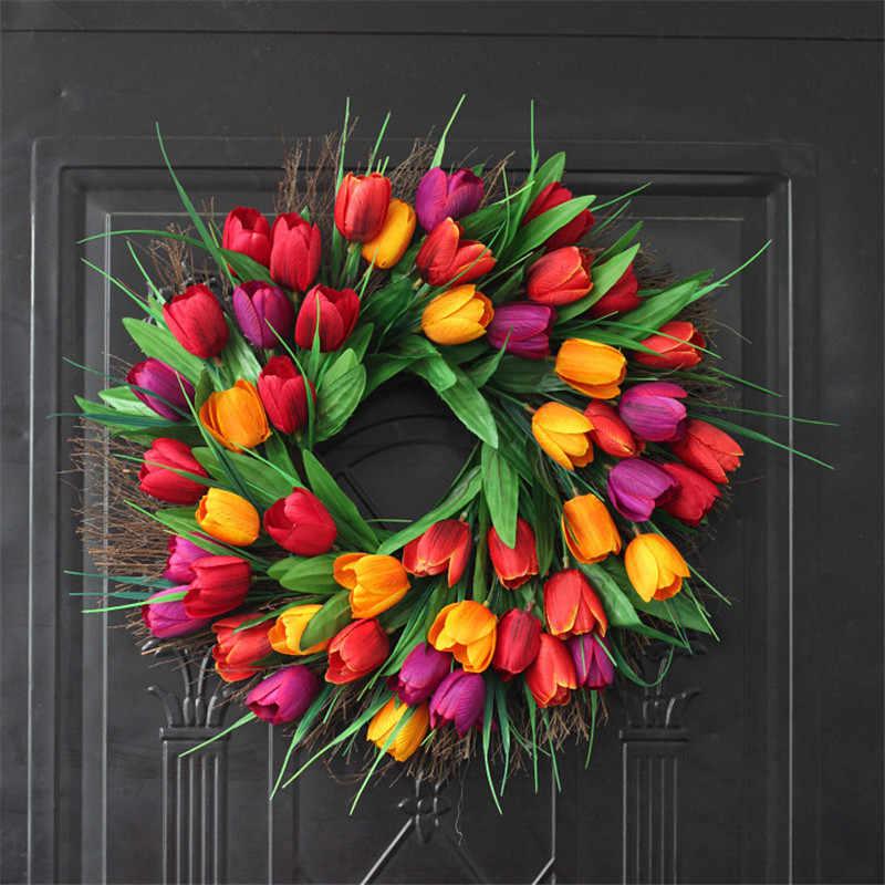 Wiosenne wieńce na drzwi - tulipany