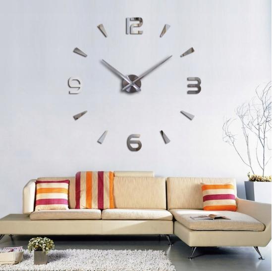 Nowoczesny zegar ścienny 3D NAKLEJANY DIY 70-130CM