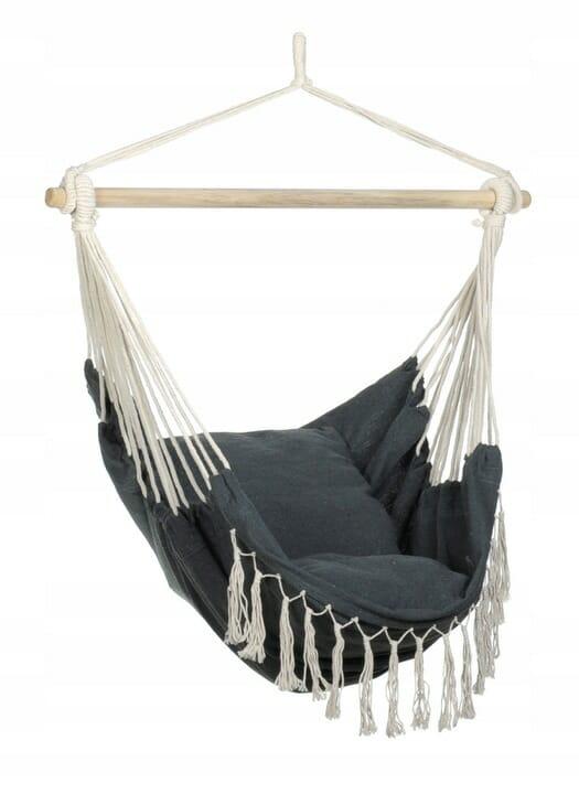 Wygodne krzesło brazylijskie szare z poduszkami
