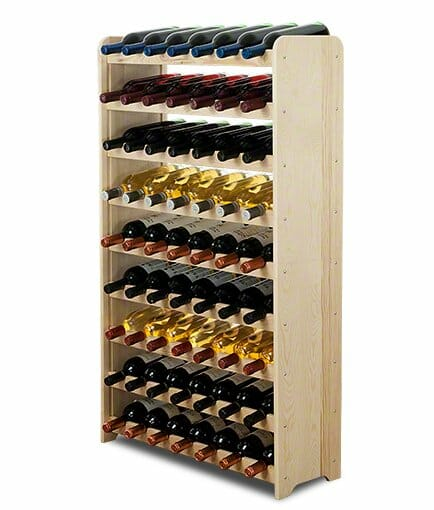 Stojak na wino z drewna - regał na aż 63 butelki