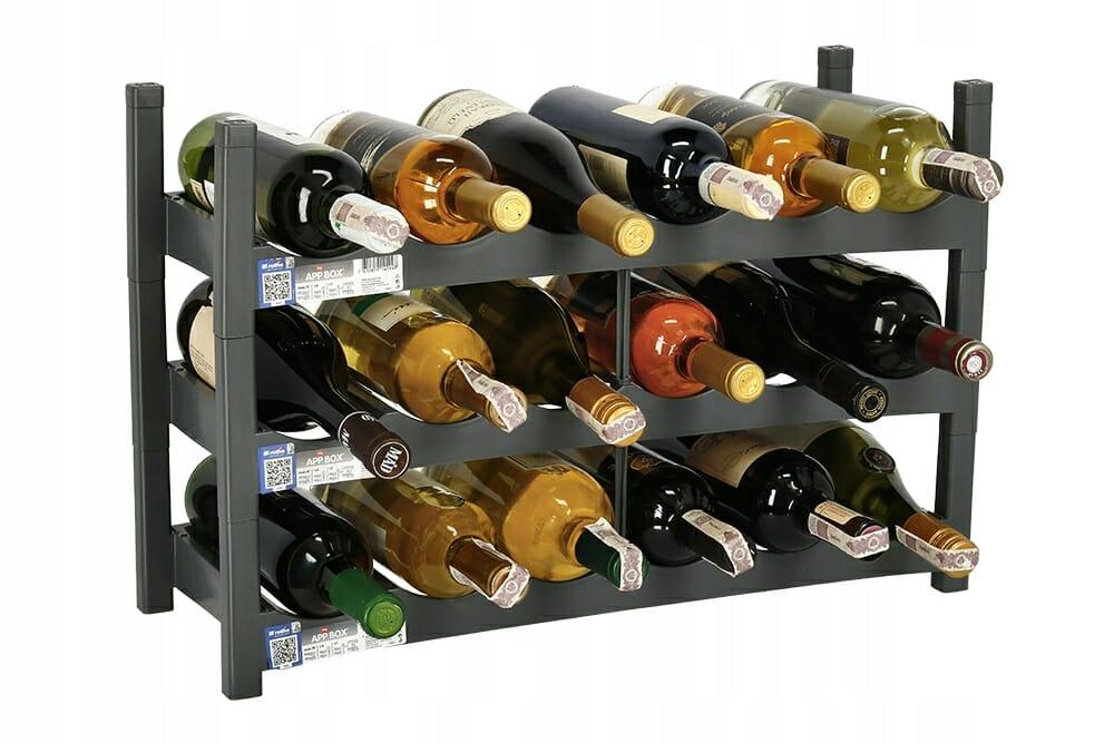 Stojak na wino w kolorze grafitowym na wina i alkohole