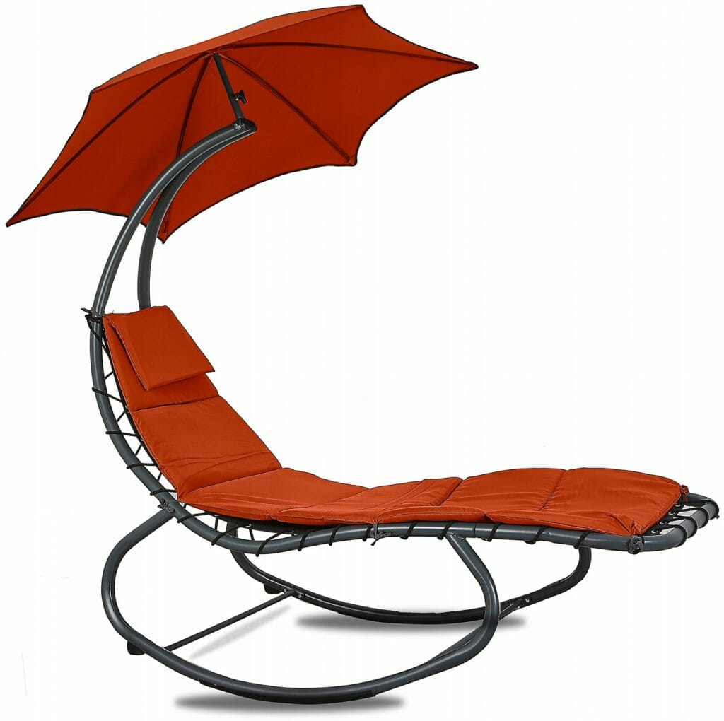 Nowoczesny fotel bujany do ogrodu z parasolem Linder Exclusiv MC4356 RED