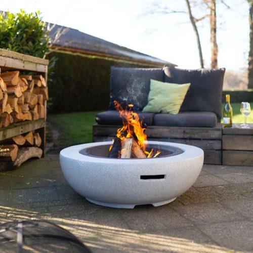 Duże palenisko ogrodowe + grill Esschert Design (FF445)