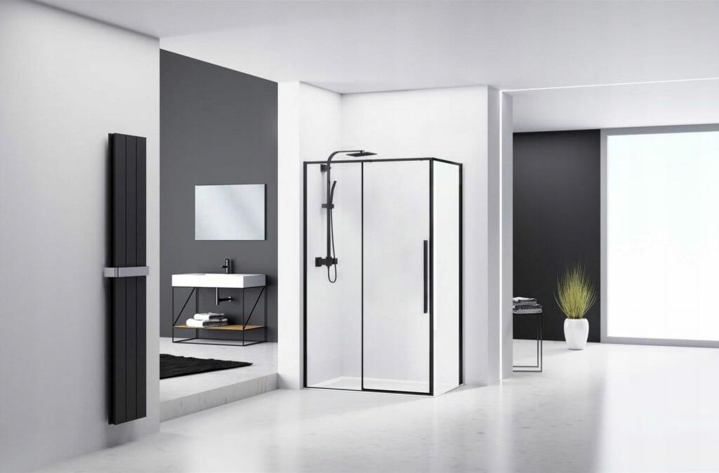 Kabina prysznicowa narożna REA Black Solar 80 x 100 cm
