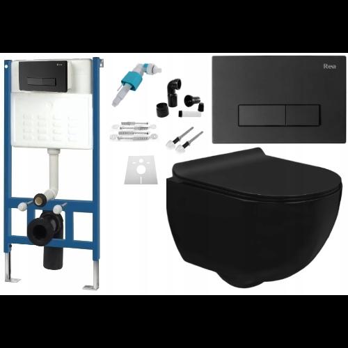 Stelaż podtynkowy REA - kompletny zestaw podtynkowy czarny