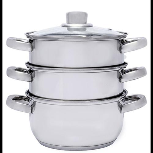 Stalowy garnek do gotowania na parze z sitem - 4 elementy
