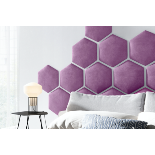 Panel tapicerowany ścienny sześciokątny PLASTER MIODU na wezgłowie - różne kolory i materiały