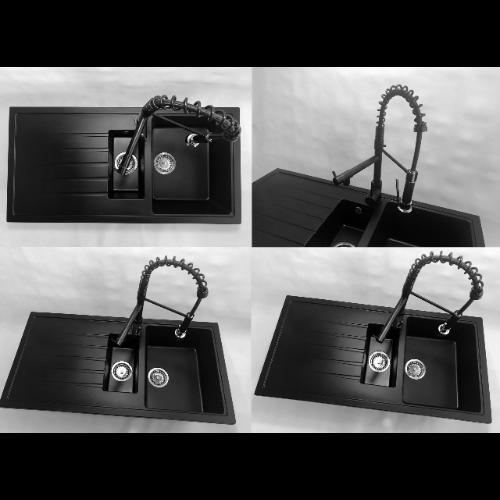 półtorakomorowy granitowy czarny zlew z ociekaczem