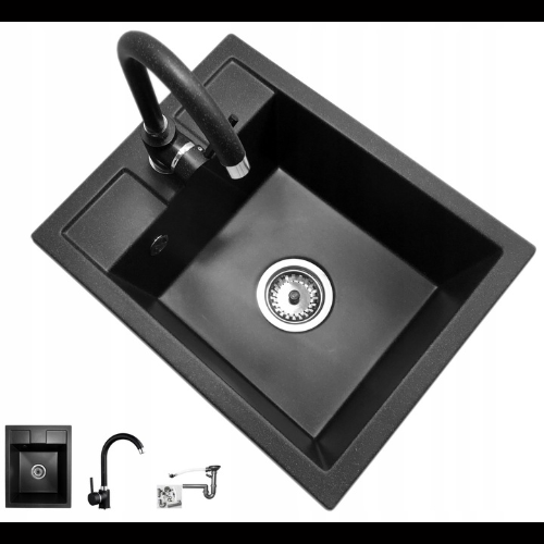 jednokomorowy zlew bez ociekacza czarny z baterią