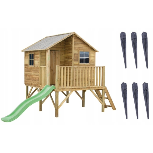 Domek ogrodowy drewniany dla dzieci ze ślizgawką