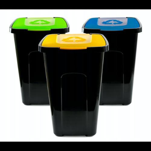 Wolnostojący pojemnik na śmieci z kolorową pokrywą