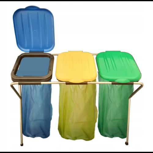 Potrójny kosz do segregacji śmieci - pojemność 120 litrów