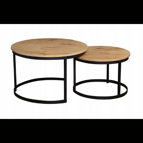 Stoliki kawowe okrągłe 2w1 - połączenie drewna i metalu