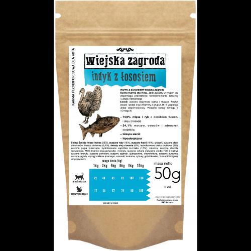 Wiejska Zagroda - bezzbożowa karma sucha dla kota z indykiem i łososiem