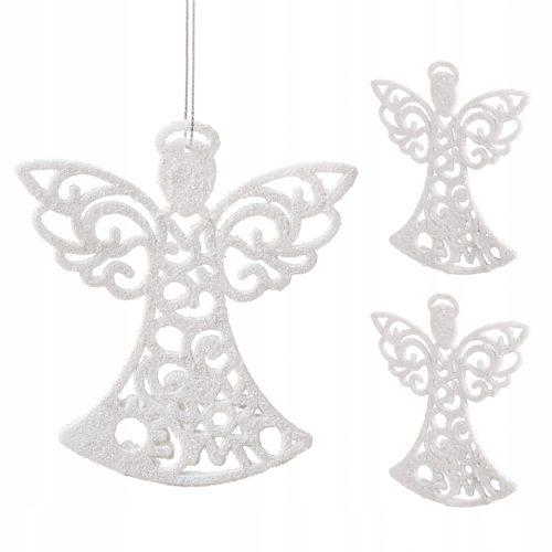 Błyszczące aniołki na choinkę - zestaw 3 sztuk
