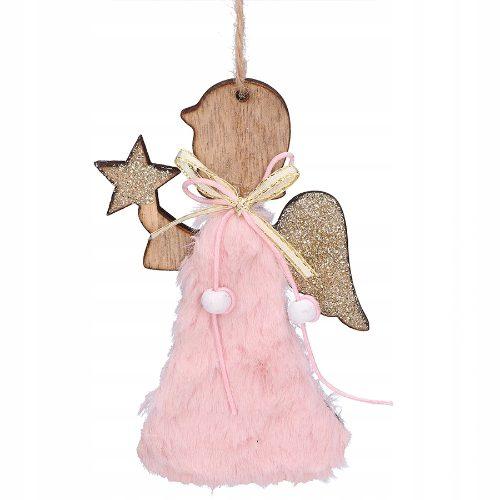 Bombki świąteczne - drewniany aniołek z futerkiem