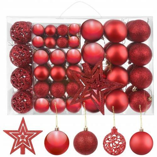Czerwone ozdoby choinkowe - zestaw aż 100 bombek świątecznych