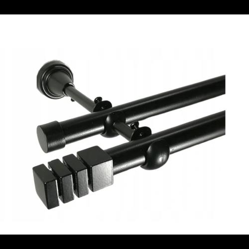 Nowoczesny karnisz podwójny  czarny 19mm / 200cm
