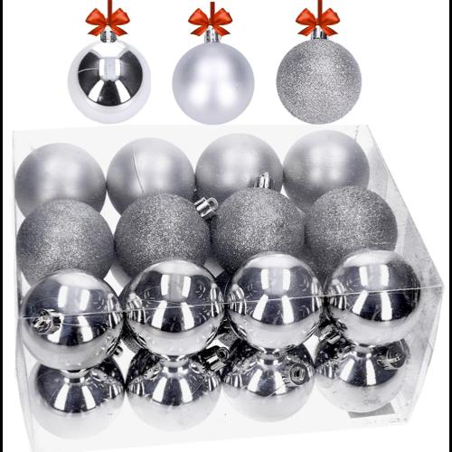 Srebrne ozdoby choinkowe - zestaw 24 bombek świątecznych