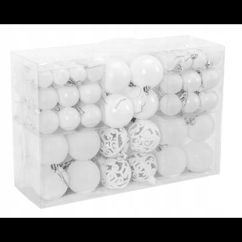 Białe ozdoby choinkowe - zestaw aż 100 bombek świątecznych