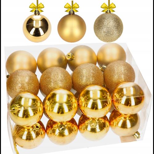 Złote bombki na choinkę - zestaw 24 sztuk