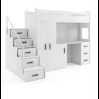 Piętrowe łóżko z biurkiem i szafą